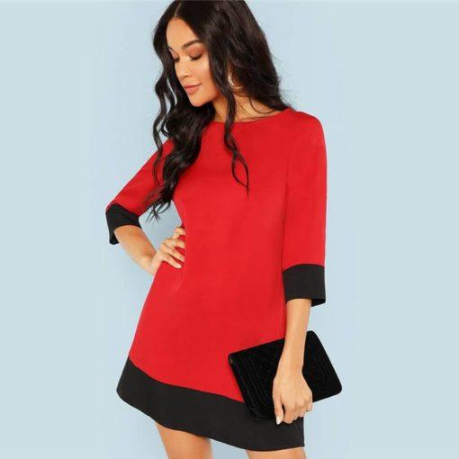 שמלה אדומה אלגנטית קצרה לסתיו