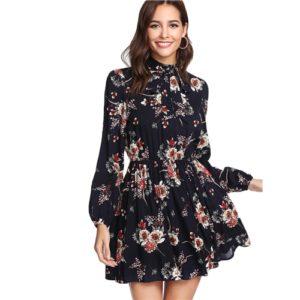 שמלה פרחונית אלגנטית ססגונית עם שרוול ארוך